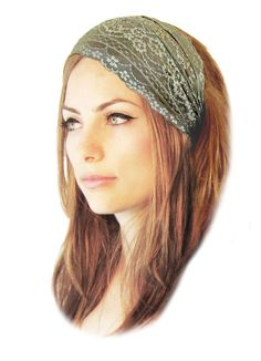Sharirose store. Stretch wide lace headband head band hair bands stretchy lace floral in a beautiful olive green! Gorgeous lace with intricate details around the borders and center!