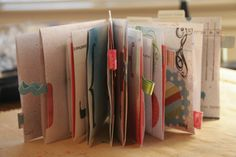 Recycle junk mail envelopes into a book with pockets. - How did I NOT think of this genius idea?!  Lynnette: I did this, VERY fun and a cute little book. I still need to finish it though.