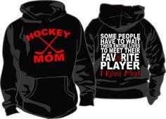 HOCKEY MOM Favorite Player Hoodie by DaddyRabbitGraphics on Etsy