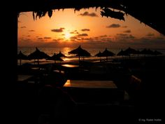 Západ slunce na pláži na ostrově Djerba v Tunisku