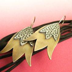 Mixed Metal Flower Earrings  Belladonna Flower by suntribedesigns, $68.00