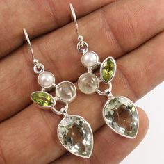 Natural PEARL, GREEN AMETHYST & OTHER Gems 925 Sterling Silver Unique Earrings #Unbranded #DropDangle