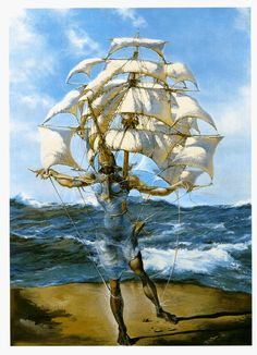 Framed Print - Salvador Dali Man and Ship in the Ocean (Painting Picture Poster) Magritte, Salvador Dali Gemälde, Salvador Dali Paintings, Pablo Picasso, Digital Art Illustration, Jean Arp, Fantasy Paintings, Art Moderne, Renoir