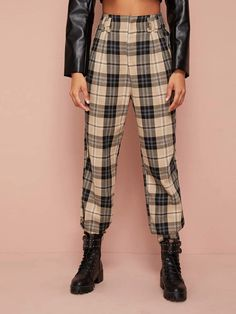Shop High Waist Plaid Joggers at ROMWE, discover more fashion styles online. Tartan Pants, Plaid, Cuffed Pants, Harem Pants, Pop Fashion, Fashion News, Straight Trousers, Type Of Pants, Long Pants