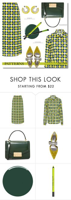 """Patterns ... 2017"" by greta-martin ❤ liked on Polyvore featuring Laura Urbinati, Tory Burch, Bottega Veneta, Smith & Cult, Urban Decay, Nvey Eco, patterns, yellow, GREEN and Elegant"