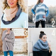 Free crochet patterns featuring Lion Brand Yarn including a triangle scarf, fringed poncho, draped sweater and chunky cowl. Easy Crochet Baby Hat, Easy Crochet Hat Patterns, Crochet Hat Sizing, Crochet Cap, Chunky Crochet, Free Crochet, Slouchy Beanie Pattern, Crochet Beanie Pattern, Braided Scarf