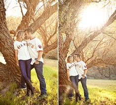 leaning against tree
