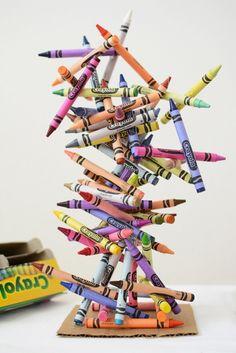Crayon Art Sculpture Fun! When the girls get goid at the glue gun for sure. Cheap material for a sculpture :)