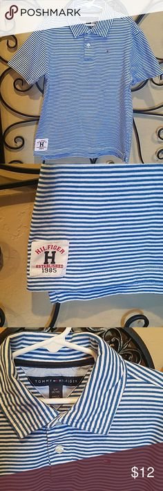Boys Tommy Hilfiger shirt Excellent condition royal blue white striped shirt. Size 8-10. Only worn 2 times. Pet and smoke free home. Tommy Hilfiger Shirts & Tops Polos