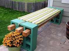 cool easy cheap DIY garden bench ideas cinder blocks green color wood slats bench padding