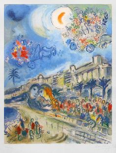 Bataille de Fleurs (Carnaval of Flowers) from Nice and the Côte d'Azur, lithographie by Marc Chagall, 1967.