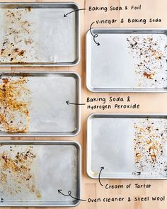 A baking sheet (or sheet pan) is one of the most frequently used items in a cook's kitchen, and it almost always has the patina to prove it. You'll rarely find a baking sheet in anyone's kitchen … Cleaning Baking Sheets, Cookie Sheet Cleaning, Clean Burnt Pots, How Do You Clean, Clean Clean, Clean Sheets, Cleaners Homemade, Diy Cleaners, Green Cleaning