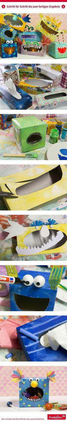 Schaurig-schöner Bastelspaß - Monsterboxen // Diese lustigen Monster können Kleinkram verschlingen, Süßigkeiten hamstern, Geheimnisse verstecken oder sogar in der Nacht leuchten … gebastelt sind sie aus leeren Taschentücher-Boxen. // // Eine Schritt-für-Schritt Anleitung finden Sie auf dm.de/profissimo-kreativ // #ProfissimoKreativ #basteln #Idee #Kreativ #DIY #Monster #Süßigkeitenbox