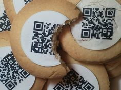 Edible QR Codes...brilliant marketing. Qkies is a company that sells a kit to make QR Code cookies at home.
