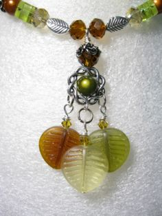 Autumn Leaves Glass Bead Necklace