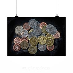 Stunning Poster Wall Art Decor Rpg Coins Larp Coins Token Coins 36x24 Inches
