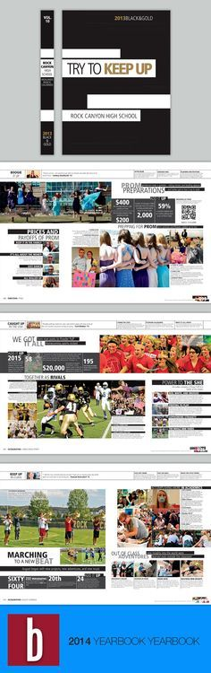 Visual theme: horizontal lines BLACK & GOLD, Rock Canyon High School, Highlands Ranch, Colorado Cool Yearbook Ideas, Yearbook Mods, Yearbook Class, Yearbook Pages, Yearbook Spreads, Yearbook Covers, Yearbook Layouts, Yearbook Design, High School Yearbook