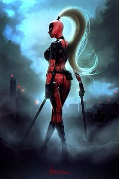 Lady Deadpool Print by Ariane-Saint-Amour Lady Deadpool, Deadpool Cosplay, Female Deadpool, Deadpool Art, Marvel Dc Comics, Marvel Vs, Anime Comics, Marvel Heroes, Marvel Women