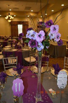 Purple centerpieces at a June Wedding! #centerpieces #purple #Capriottiscatering #summerwedding #weddingideas
