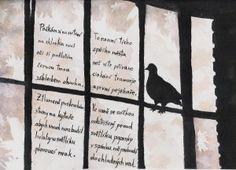 Holubi ve světlíku Painting, Watercolor Art, Art