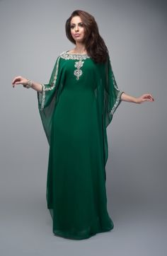 Forest Fresh Flare | Nisaa Boutique |  This robe, the deep green of the forest with glittering mithral detailing, is an example of a dress style slightly less common than the gown.