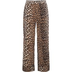 Ganni leopard print trousers ($380) ❤ liked on Polyvore featuring pants, bottoms, brown, leopard pants, leopard trousers, brown pants, silk pants and silk trousers