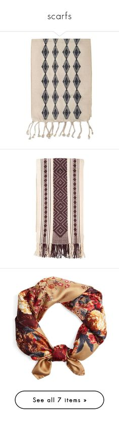 """""""scarfs"""" by megillusion ❤ liked on Polyvore featuring home, kitchen & dining, table linens, fabrics, handwoven table runner, colored trees, woven table runner, hand woven table runner, diamond tree and accessories"""