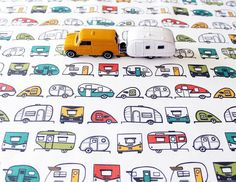 Travel Trailer Cotton Fabric / Camper Fabric / Teardrop Trailer / Retro Fabric / Fat Quarters / Multi Colored