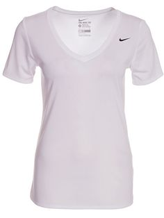 W Nike Dry Vneck Legend Ss Tee - Nike - Valkoinen - Treenipaidat - Urheiluvaatteet - Nainen - Nelly.com