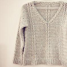 Crochet PATTERN (pdf file) - Cable V-neck Sweater. by monpetitviolon ...