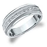 Eternity Wedding Bands LLC White Gold Diamond Men's Satin Finish Milgrain Band cttw, H-I Color, Clarity) Size 11 Wedding Ring Pictures, Cool Wedding Rings, White Gold Wedding Rings, Wedding Ring Designs, Wedding Rings For Women, Wedding Ideas, Mens Diamond Wedding Bands, Platinum Wedding Rings, Diamond Bands