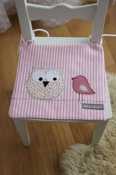 "Kinderstuhlkissen ""Eule"" // cushion chair children, owl by milla-louise via DaWanda.com"