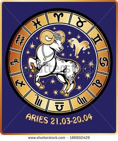 One Aries rides behind them are symbols of all zodiac signs Horoscope circle. Golden and white figure on blue background.Graphic Vector Illustration in retro style. - stock photo
