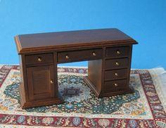 Schreibtisch braun für die Puppenstube 1:12