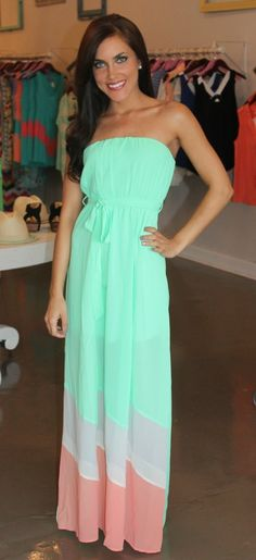 Dottie Couture Boutique - Mint Tube Maxi , clothes summer clothes style waterfalls for summer Cute Dresses, Beautiful Dresses, Cute Outfits, Maxis, Sundresses, Rosh Run Nike, Long Summer Dresses, Long Dresses, Maxi Dresses