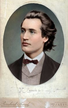 Photographic portrait of Mihai Eminescu posted by Olga. Mihai Eminescu was a Romantic poet, novelist and journalist, often regarded as the most famous and influential Romanian poet. Info via Wikipedia. Colorized History, Writers And Poets, Photographs Of People, Daguerreotype, Historical Images, Interesting Reads, Poses, Vintage Images, Digital Image