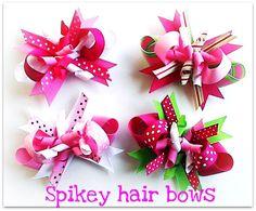 spikey hair bows « How to make Hair bows w/ Ribbon Spikes