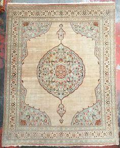 """Antique Haji Jalili Tabriz Persian Rug 9'7"""" x 12'3"""" c.1910"""