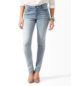 Sandblasted Five Pocket Skinny Jeans | FOREVER21 - 2000046125