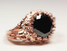 belonging to the darkness. rose gold vermeil & black flush cz