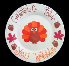 Hand Painted Fall Decor Plate Gobble til You