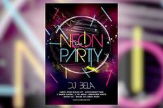nice Neon Party CreativeWork247 - Fonts, Graphics, Themes, Templates...