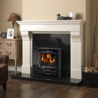 Buy Cabra 54 Inch Ivory Cream Fireplace Surround from Fast UK Delivery and lowest prices guaranteed. Cream Fireplace, Wood Fireplace, Living Room With Fireplace, Fireplace Surrounds, Fireplace Design, Fireplaces, Black Grout, Black Tiles