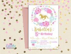 Invitación del cumpleaños de unicornio, unicornio invitación púrpura, Teal, rosa y oro, partido de unicornio, brillo, invitación cumpleaños, partido de unicornio