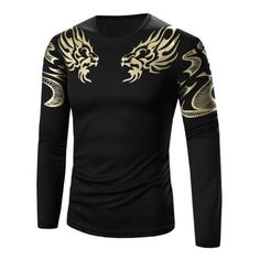 Slimming Golden Totem Pattern Long Sleeve T-Shirt