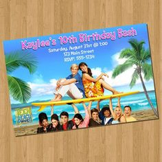 Teen Beach Movie Invitations Surf Board by PartyTimePrints, $6.25