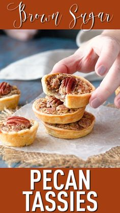 Pecan Tassies: crunchy nuts & warm brown sugar -Baking a Moment Pecan Desserts, Mini Desserts, Pecan Recipes, Tart Recipes, Holiday Desserts, Baking Recipes, Sweet Recipes, Holiday Recipes, Cookie Recipes
