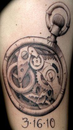 Pocket Watch Tattoo ( I like the numbers!)