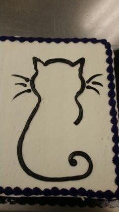 Black cat outline sheet cake - buttercream by Sarah Stump
