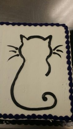 Black cat outline sheet cake - buttercream by Sarah Stump